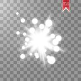 Jarzeniowy lekki skutek Starburst z błyska na przejrzystym tle również zwrócić corel ilustracji wektora Obrazy Stock