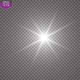 Jarzeniowy lekki skutek Starburst z błyska na przejrzystym tle również zwrócić corel ilustracji wektora słońce ilustracja wektor