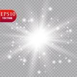 Jarzeniowy lekki skutek Starburst z błyska na przejrzystym tle również zwrócić corel ilustracji wektora słońce Zdjęcie Stock