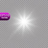 Jarzeniowy lekki skutek Starburst z błyska na przejrzystym tle również zwrócić corel ilustracji wektora słońce Obrazy Royalty Free