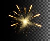 Jarzy się odosobnionego białego przejrzystego skutek, obiektywu racę, wybuch, błyskotliwość, linię, słońce błysk, iskrę i gwiazdy ilustracji