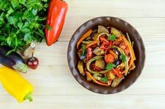 Jarzynowa gulasz sałatka: dzwonkowy pieprz, oberżyna, szparagowe fasole, czosnek, marchewka, leek Jaskrawi korzenni aromatyczni n Fotografia Stock
