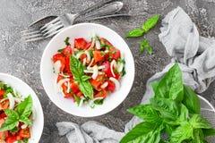 Jarzynowa sałatka z świeżym pomidorem, basilem i cebulą, Obrazy Royalty Free