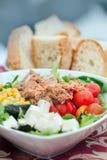 Jarzynowa sałatka z tuńczykiem i chlebem zdjęcia stock