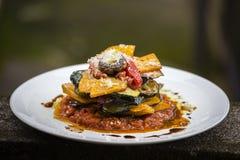 Jarzynowa sterta bania, zucchini, czerwony capsicum, oberżyna i pieczarka gotujący w -, pomidorze, cebuli i czosnku kumberlandzie Fotografia Royalty Free