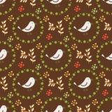 Jarzynowy bezszwowy wzór z jabłkami i ptakami dla projekta Zdjęcie Stock