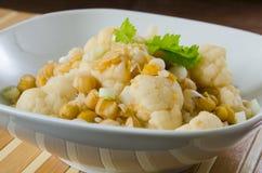 Jarzynowy curry z kalafiorem i chickpeas Fotografia Stock