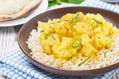 Jarzynowy curry z kalafiorem i ryż na talerzu Fotografia Royalty Free