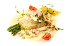 Jarzynowy gulasz z ryba i asparagusem Zdjęcie Royalty Free