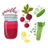 Jarzynowy koktajl dla zdrowego życia Smoothies z burakiem, cytryną, ogórkiem i selerem, Przepisu jarski organicznie smoothi Obraz Stock
