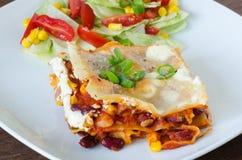 Jarzynowy Lasagna z fasolami i kukurudzą Obraz Royalty Free