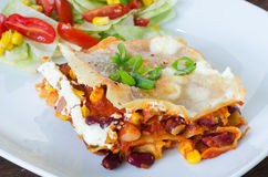 Jarzynowy Lasagna z fasolami i kukurudzą Obrazy Royalty Free