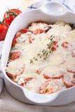 Jarzynowy lasagna z serem, aubergines i pomidorami, Obrazy Stock
