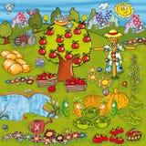 Jarzynowy ogród z jezior nawadniać, wiele zwierzę kreskówki śmiesznym projektem dla dzieciństwa i elementami warzyw i kwiatów i Zdjęcie Stock