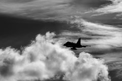 Jas 39 Gripen. Swedish air force in a black and white picture Royalty Free Stock Photo
