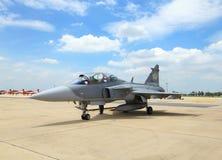 JAS 39 Gripen sur l'exposition photo stock
