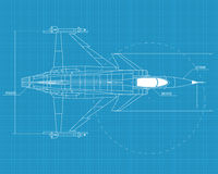 Jas 39 grippen. High detailed vector illustration of a modern military airplane on blue print paper Royalty Free Stock Image