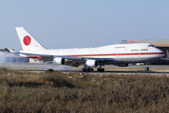 JASDF 747 on official visit of Japanese Prime Minister Stock Image