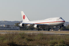 JASDF 747 on official visit of Japanese Prime Minister Royalty Free Stock Photos