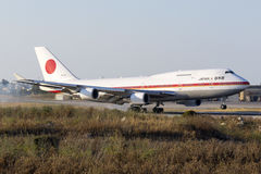JASDF 747 on official visit of Japanese Prime Minister Royalty Free Stock Photo
