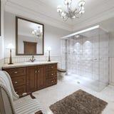 Jaskrawa łazienka w Angielskim stylu z wielką szklaną prysznic ilustracji