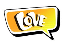 Jaskrawa żółta wektorowa mowa bąbla miłość Kolorowa emocjonalna ikona odizolowywająca na białym tle Komiczki i kreskówki styl ilustracja wektor