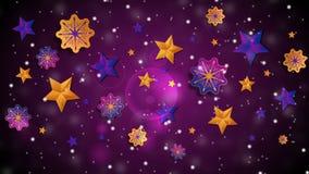 Jaskrawa abstrakcjonistyczna boże narodzenie płatków śniegu i gwiazd wideo animacja ilustracji