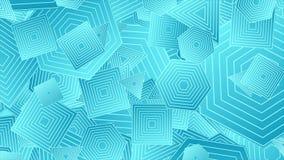 Jaskrawa błękitna abstrakcjonistyczna geometryczna kształta wideo animacja ilustracji