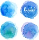 Jaskrawa błękitna akwarela malować plamy ustawiać Zdjęcia Royalty Free