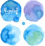 Jaskrawa błękitna akwarela malować plamy ustawiać Zdjęcie Royalty Free