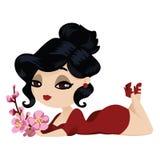 Jaskrawa brunetka w czerwonej sukni z wiśnią kwitnie w ona ręki Ilustracja Wektor
