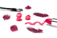 Jaskrawa czerwona pomadka z czarnym tusz do rzęs i żyłkowanymi piórkami Zdjęcia Stock