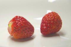 Jaskrawa czerwona truskawka przeciw białemu tłu obrazy royalty free