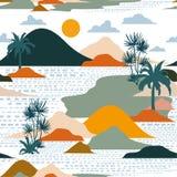 Jaskrawa i kolorowa sylwetka wyspa, drzewko palmowe, plaża, góra royalty ilustracja