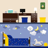 Jaskrawa ilustracja w modnym mieszkanie stylu z dziecko pokoju wnętrzem dla use w projekcie dla dla karty, zaproszenie, plakat, s Fotografia Stock