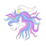 Jaskrawa ilustracja z jednorożec Śliczny princess z koroną Zdjęcia Royalty Free