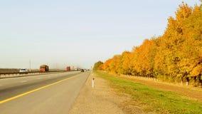 Jaskrawa jesieni droga z jaskrawymi drzewami wzdłuż go zdjęcia stock