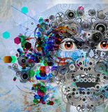 Jaskrawa koloru robota twarz Zdjęcia Stock