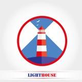 Jaskrawa latarni morskiej ikona, Wektorowa ilustracja Zdjęcie Royalty Free