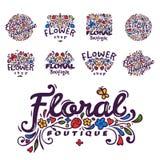 Jaskrawa odznaka dla kwiatu sklepu dekoracyjna ręka rysującego ramowego szablonu dla kwiecistej biznesowej natura sztandaru wekto ilustracja wektor
