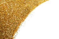 Jaskrawa piękna olśniewająca złota błyskotliwość na białym tle, odgórny widok fotografia royalty free