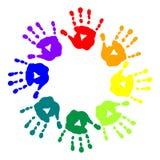 Jaskrawa pocztówka z kolorowymi handprints Obraz Royalty Free