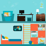 Jaskrawa pomarańcze i błękitny barwiony dziecko pokoju wnętrze dla use w projekcie dla dla karty, zaproszenie, plakat, sztandar,  Obraz Royalty Free