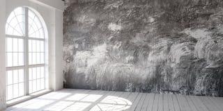 Jaskrawa pusta loft przestrzeń z dużymi okno ilustracji