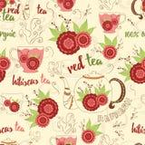 Jaskrawa ręka rysuje bezszwową teksturę z czerwoną poślubnik herbatą, świeżymi elementami, parowych i projekta Filiżanka, kubek,  Fotografia Royalty Free
