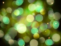 Jaskrawa rozjarzona łuna z jaskrawymi światłami, błyskotliwość skutkiem koloru żółtego i zieleni i royalty ilustracja