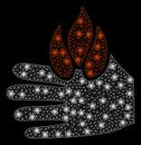 Jaskrawa siatki ścierwa oparzenie ręka z Błyskowymi punktami ilustracja wektor