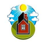 Jaskrawa wektorowa ilustracja prosty dom na wsi na wschodów słońca półdupkach Fotografia Stock