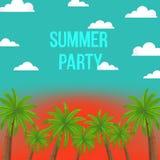Jaskrawa wektorowa ilustracja z kokosowymi palmami, zmierzchu niebo, chmury i teksta ` lato, bawimy się ` ilustracja wektor