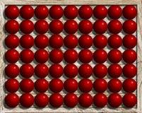 Jaskrawe glansowane plastikowe czerwone pi?ki uk?adali w rz?dy ilustracja wektor